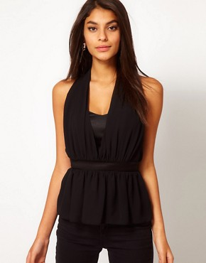 Image 1 ofASOS Halter Top With Layered Peplum
