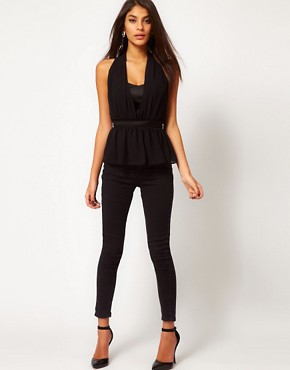 Image 4 ofASOS Halter Top With Layered Peplum