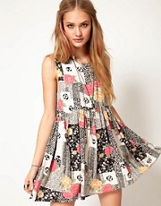 Minkpink Mini Dress in Patchwork Print