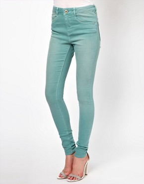 Image 1 ofASOS Ridley Supersoft High Waisted Ultra Skinny Jeans in Angel Green
