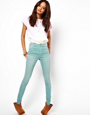 Image 4 ofASOS Ridley Supersoft High Waisted Ultra Skinny Jeans in Angel Green
