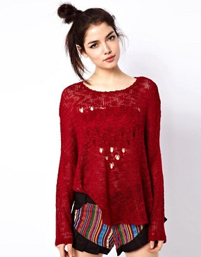 Reverse Heart Open Knit Jumper at ASOS from us.asos.com