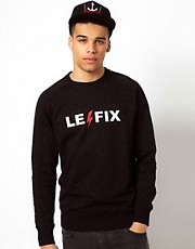 Le Fix Crew Neck Sweatshirt Leopard All Over Print Logo