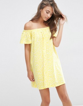 ASOS Off Shoulder Swing Sundress In Yellow Ditsy Print