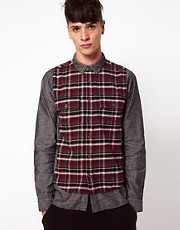 Izzue Chambray Shirt with Check Panel