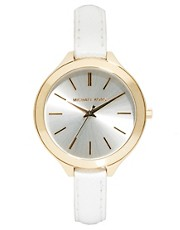 Michael Kors Slim Runway White Strap Watch