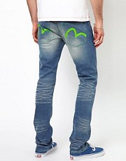 Evisu Jeans Katsumi Slim Fit Neon Combo Sulphur Light Wash