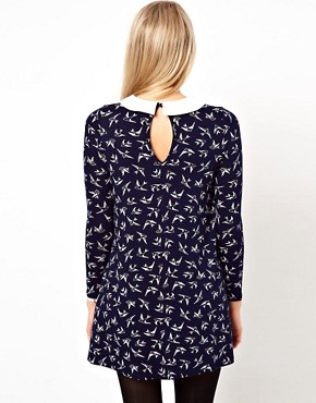 Image 2 ofASOS PETITE Exclusive Bird Print Swing Dress With Collar