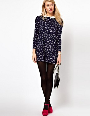 Image 4 ofASOS PETITE Exclusive Bird Print Swing Dress With Collar