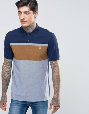 Fred Perry Polo Shirt With Chest Stripe In Carbon Blue
