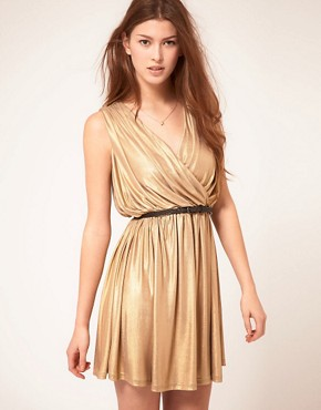 Image 1 ofRare Metallic Wrap Dress