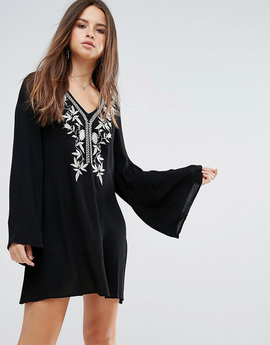 Lunik Embroidered Smock Dress - Black