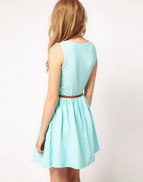 Image 2 ofASOS Sleeveless Skater Dress In Texture With Belt