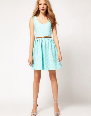 Image 4 ofASOS Sleeveless Skater Dress In Texture With Belt