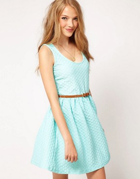 Image 1 ofASOS Sleeveless Skater Dress In Texture With Belt