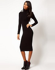ASOS Midi Bodycon Dress With Poloneck And Long Sleeves