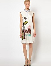 Louise Amstrup Valentina Shirt Dress with Placement Print