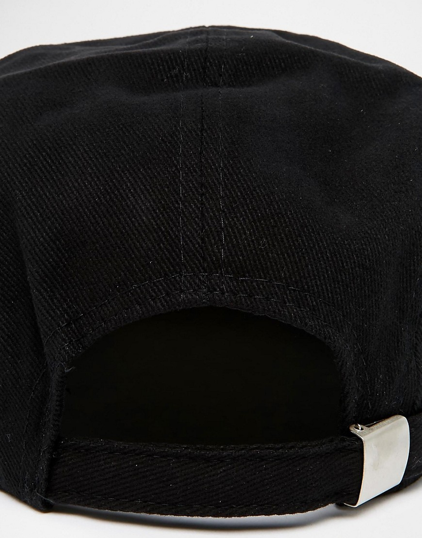 Image 2 of ASOS 5 Panel Cap In Black With Tan Faux Suede Contrast Peak