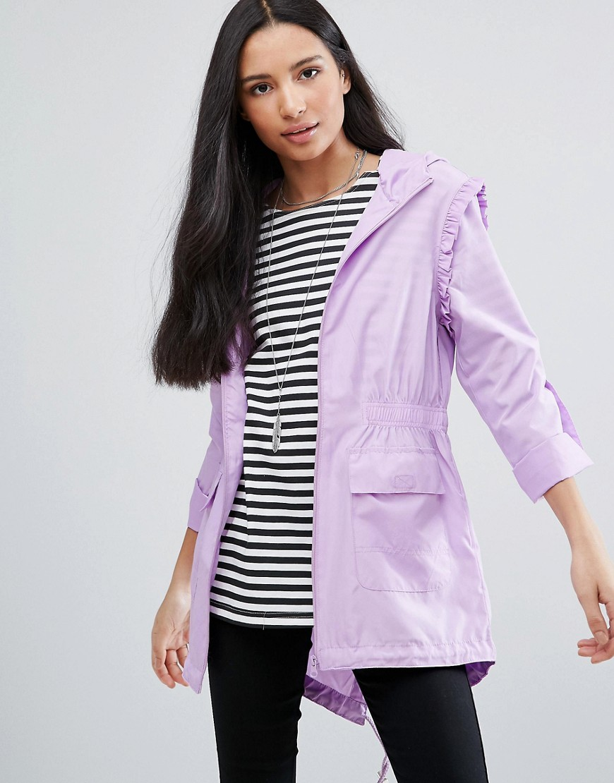 Brave Soul Plain Frill Festival Trench - Purple
