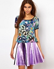 Lashes Of London Peplum Top In Digital Floral