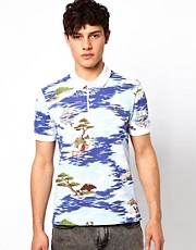 Lacoste Live Polo Shirt with Japanese Surf Print