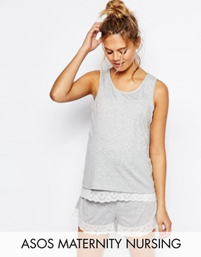 ASOS Maternity NURSING Double Layer Lace Trim Pyjama Vest & Short Set