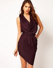 Halston Heritage Draped Cowl Dress
