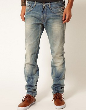 Image 1 ofReplay Jeans Anbass Regular Slim Fit Light Sunfaded Wash
