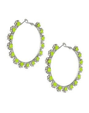 Image 1 ofASOS Flower Stone Hoop Earrings