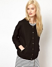 BA&amp;SH Structured Bomber Jacket with Gold Zip and Popper Detail
