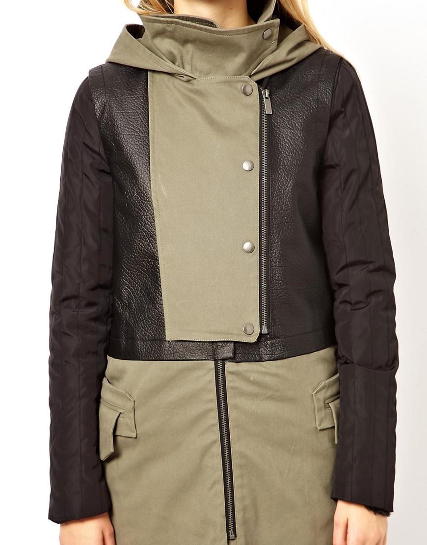 Image 3 ofASOS Premium Parka With Contrast Leather