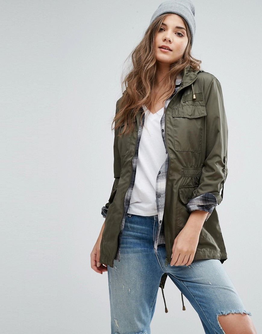 Brave Soul Hooded Festival Trench - Green
