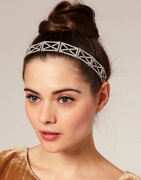Image 1 ofASOS Diamante Criss Cross Pattern Stretch Headband