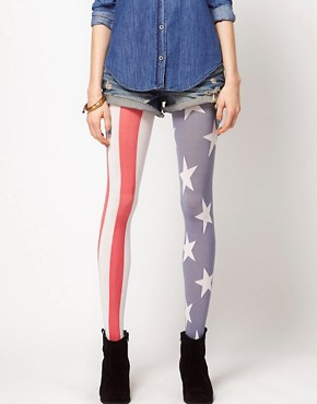 Bild 1 von House of Holland for Pretty Polly  Strumpfhose mit USA-Flagge