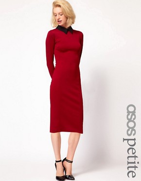 Image 1 ofASOS PETITE Exclusive Sexy Pencil Dress With Collar