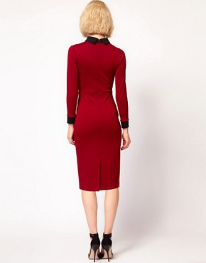 Image 2 ofASOS PETITE Exclusive Sexy Pencil Dress With Collar