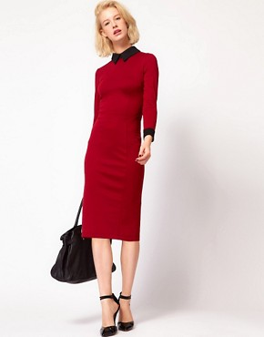 Image 4 ofASOS PETITE Exclusive Sexy Pencil Dress With Collar