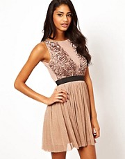 TFNC Applique Prom Dress with Plunge Mesh Neck