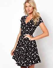 ASOS Skater Dress With Wrap Front In Heart And Bird Print