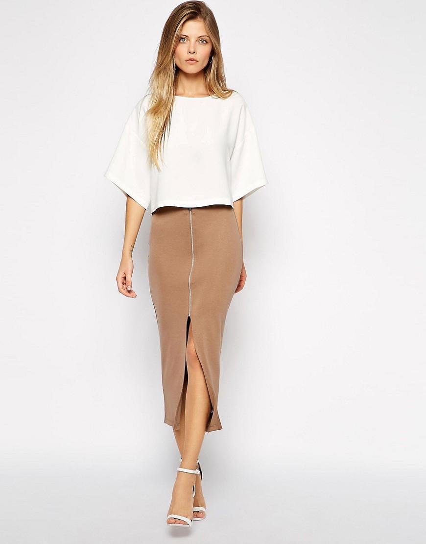 asos asos longline pencil skirt in ponte with zip front