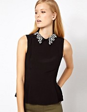 Karen Millen Sleeveless Top with Beaded Shirt Collar