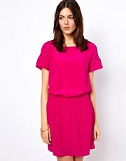 Vanessa Bruno Ath Silk Short Sleeve Dress with Drop Waist