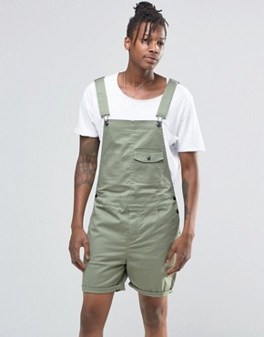 ASOS Slim Short Dungarees in Light Green