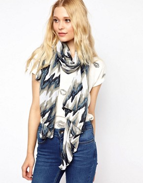 Image 1 ofNew Look Sparkle Ikat Print Scarf