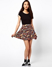 River Island Comic Print Skater Skirt