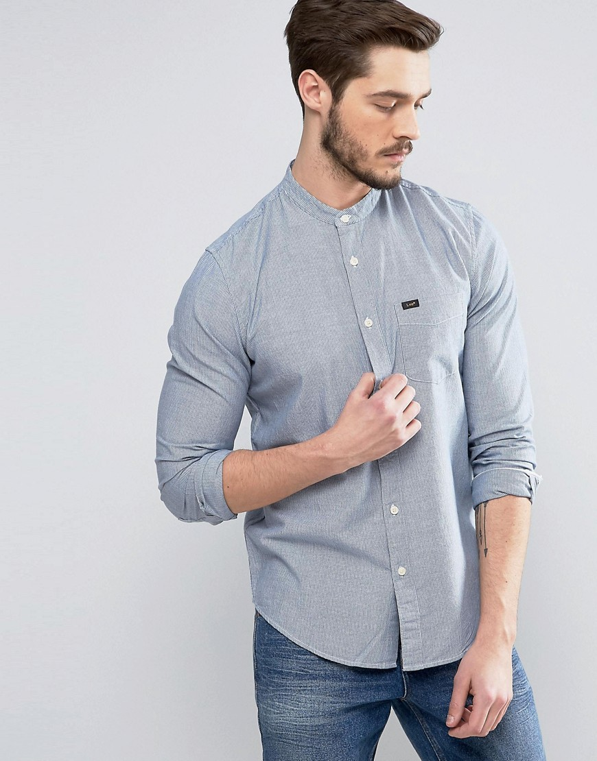 Lee Band Collar Shirt Workwear Blue - Workwear blue