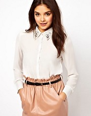 Dahlia Blouse with Embellished Collar Tips