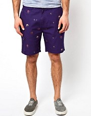 Farah Vintage Shorts with Fish Hook Print