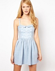 Aime by People Tree Embroidered Denim Bandeau Skater Dress