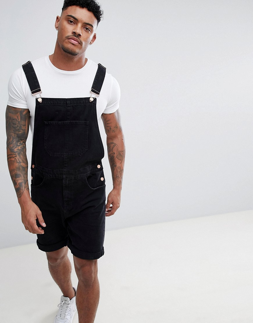 ASOS DESIGN Short Dungarees in Black